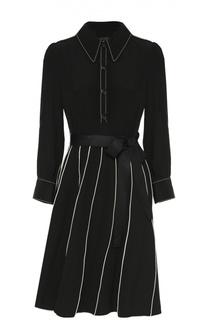 Шелковое платье-рубашка с поясом и контрастной отделкой Marc Jacobs