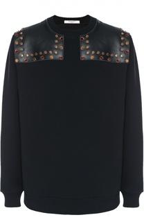 Хлопковый свитшот с отделкой из натуральной кожи Givenchy