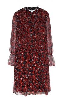 Шелковое платье прямого кроя с укороченным рукавом Diane Von Furstenberg
