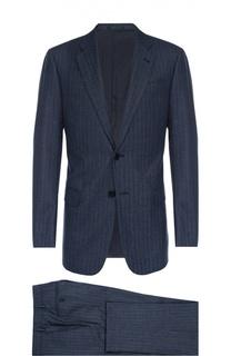 Шерстяной приталенный костюм в полоску Armani Collezioni