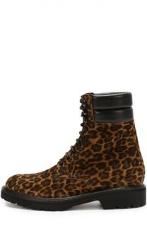 Замшевые ботинки с анималистичным принтом Saint Laurent