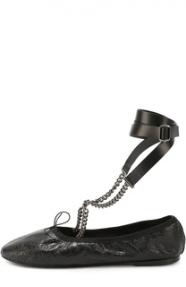 Кожаные балетки Rockstud с ремешками на цепочках Valentino