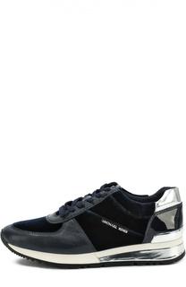 Кожаные кроссовки с текстильной вставкой Michael Michael Kors