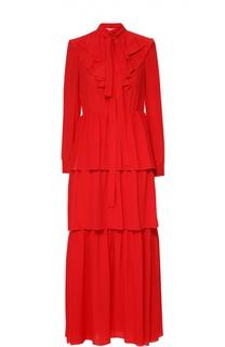 Шелковое многоярусное платье с воротником аскот и рюшами Sonia Rykiel