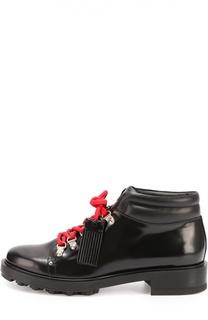 Кожаные ботинки на шнуровке с декором Tod's