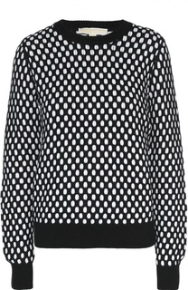 Пуловер свободного кроя с круглым вырезом и контрастным принтом Michael Michael Kors
