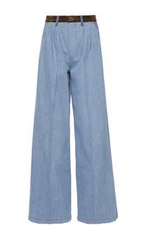 Широкие джинсы с защипами и контрастной отделкой Sonia Rykiel