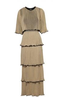 Многоярусное плиссированное платье-макси Sonia Rykiel