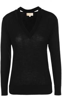 Шерстяной пуловер с V-образным вырезом Michael Michael Kors