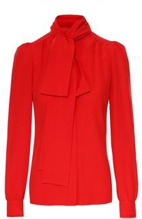 Шелковая блуза прямого кроя с воротником аскот Sonia Rykiel