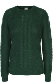 Кашемировый пуловер фактурной вязки с круглым вырезом FTC