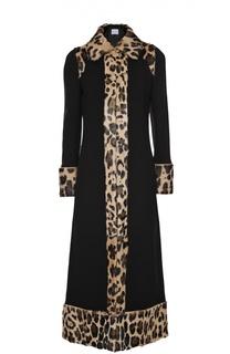 Приталенное пальто-макси с меховой отделкой Sonia Rykiel