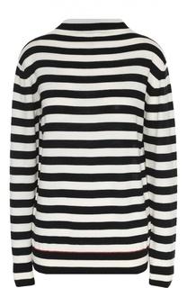 Удлиненный шерстяной пуловер в контрастную полоску Moncler