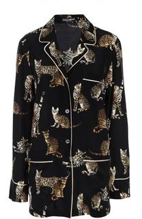 Шелковая блуза в пижамном стиле с принтом в виде кошек Dolce & Gabbana