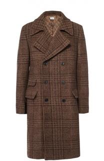 Шерстяное двубортное пальто в клетку Dries Van Noten