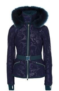 Куртка с поясом и меховой отделкой капюшона Escada Sport