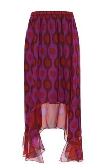 Шелковая юбка асимметричного кроя с ярким принтом Diane Von Furstenberg