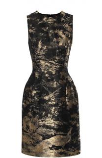 Приталенное мини-платье с металлизированной отделкой Oscar de la Renta