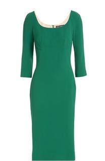 Платье-футляр с укороченным рукавом и круглым вырезом Dolce & Gabbana