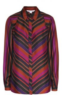 Шелковая блуза прямого кроя с геометрическим принтом Diane Von Furstenberg