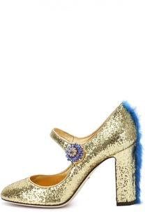 Туфли Vally с глиттером и меховой отделкой Dolce & Gabbana