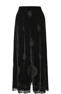 Укороченные бархатные брюки с декоративной отделкой Giorgio Armani