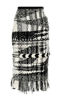 Буклированная юбка-карандаш с бахромой Oscar de la Renta