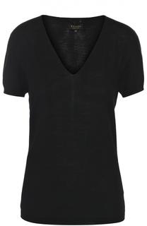 Шерстяной пуловер с коротким рукавом и V-образным вырезом Escada