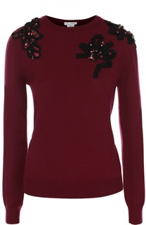 Пуловер с круглым вырезом и декоративной отделкой Oscar de la Renta