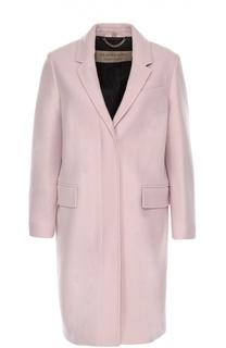 Шерстяное пальто прямого кроя с узкими лацканами Burberry