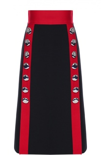 Юбка-миди с широким поясом и контрастной отделкой Dolce & Gabbana