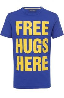 Хлопковая футболка с контрастной надписью Frankie Morello