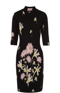 Приталенное платье с цветочным принтом и укороченным рукавом Blumarine