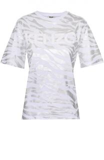 Хлопковая футболка свободного кроя с декоративной отделкой Kenzo