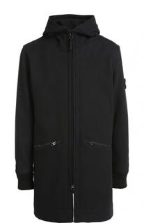 Шерстяное пальто на молнии с капюшоном Stone Island