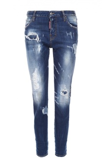 Укороченные облегающие джинсы с потертостями Dsquared2