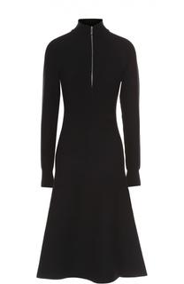 Расклешенное платье с длинным рукавом и вырезом на молнии HUGO