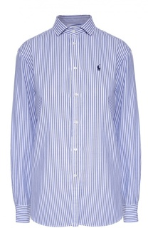 Хлопковая блуза прямого кроя в полоску Polo Ralph Lauren