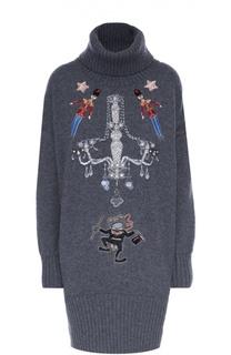 Вязаное платье с высоким воротником и декоративной вышивкой Dolce & Gabbana