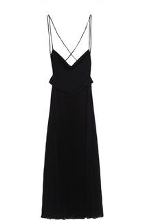 Приталенное шелковое платье с открытой спиной Valentino