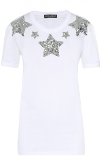 Хлопковая футболка прямого кроя с пайетками Dolce & Gabbana