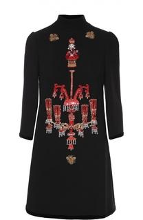 Мини-платье прямого кроя с яркой вышивкой Dolce & Gabbana
