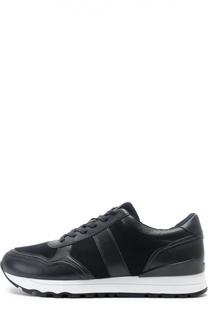 Кожаные кроссовки с текстильными вставками DKNY