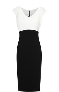 Облегающее платье с контрастным лифом и круглым вырезом Escada