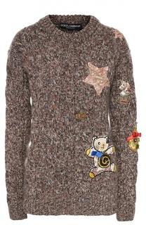 Кашемировый пуловер фактурной вязки с контрастной отделкой Dolce & Gabbana