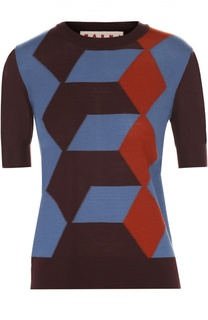 Шерстяной пуловер с коротким рукавом и контрастным принтом Marni