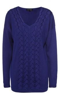 Удлиненный пуловер фактурной вязки с V-образным вырезом Escada