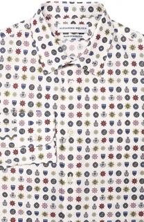 Хлопковая сорочка с принтом и воротником кент Alexander McQueen