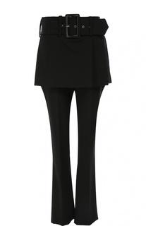 Шерстяные брюки прямого кроя с баской и широким поясом Givenchy