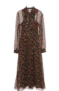 Приталенное шелковое платье с воротником аскот REDVALENTINO